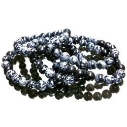 Bracelet Boules en Obsidienne Neige