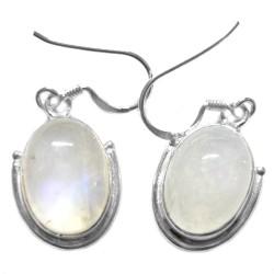 Boucles d'Oreilles en Pierre de Lune & Argent