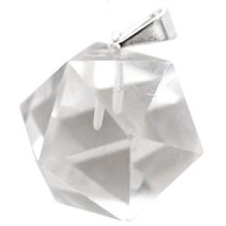 Pendentif Icosaèdre en Cristal de Roche
