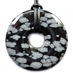 Pendentif Donut en Obsidienne Neige
