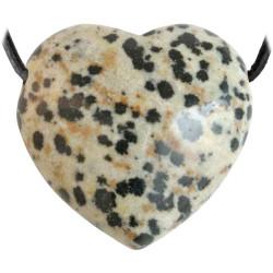 Pendentif Coeur en Jaspe Dalmatien
