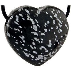 Pendentif Coeur en Obsidienne Neige