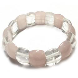 Bracelet Cabochons en Cristal de Roche & Quartz Rose