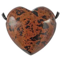 Pendentif Coeur en Obsidienne Rouge