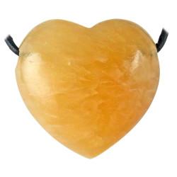 Pendentif Coeur en Calcite Orange