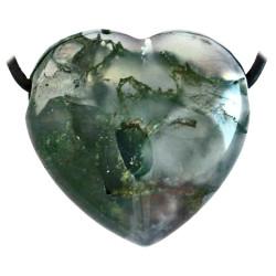 Pendentif Coeur en Agate Mousse