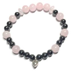 Bracelet en Hématite & Quartz Rose