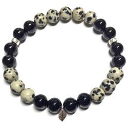 Bracelet en Jaspe Dalmatien & Onyx