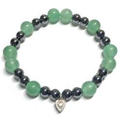 Bracelet en Aventurine Verte & Hématite