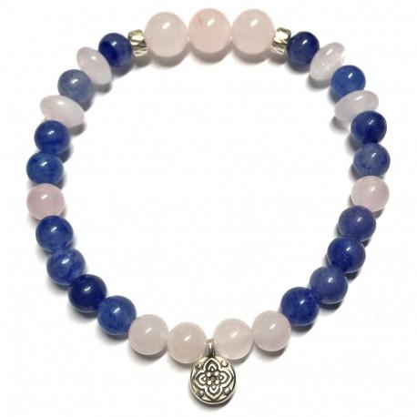 Bracelet en Quartz Rose & Aventurine Bleue