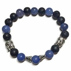 Bracelet en Basalte & Aventurine Bleue