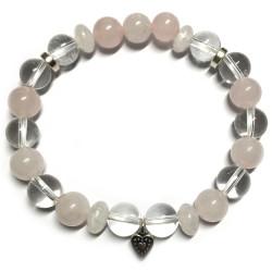 Bracelet en Quartz Rose & Cristal de Roche