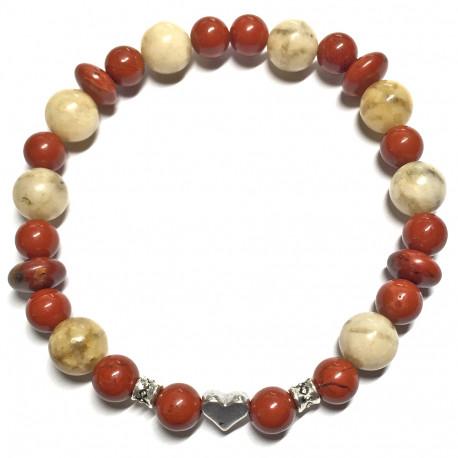 Bracelet en Jaspe Rouge & Feldspath