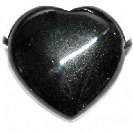 Pendentif Coeur en Obsidienne Argentée