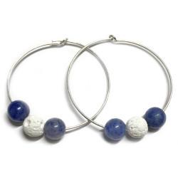 Boucles d'Oreilles en Basalte & Aventurine Bleue