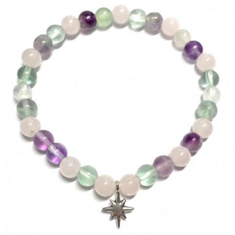 Bracelet en Fluorite & Quartz Rose