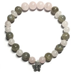 Bracelet en Labradorite & Quartz Rose