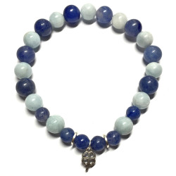 Bracelet en Aigue Marine & Aventurine Bleue