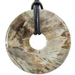 Pendentif Donut en Bois Fossile