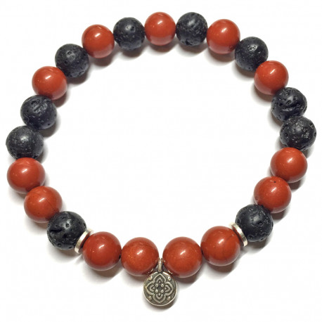 Bracelet en Jaspe Rouge & Basalte