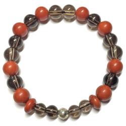 Bracelet en Jaspe Rouge & Quartz Fumé