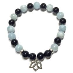 Bracelet en Aigue Marine & Onyx