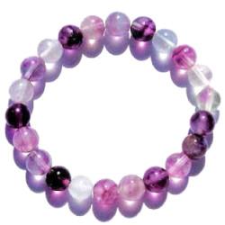 Bracelet Boules en Fluorite Violette