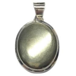 Pendentif Cabochon en Pyrite & Argent