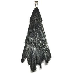 Pendentif en Cyanite Noire Brute