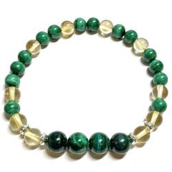 Bracelet en Citrine & Malachite