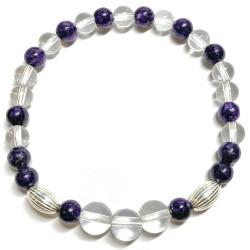 Bracelet en Cristal de Roche & Charoïte