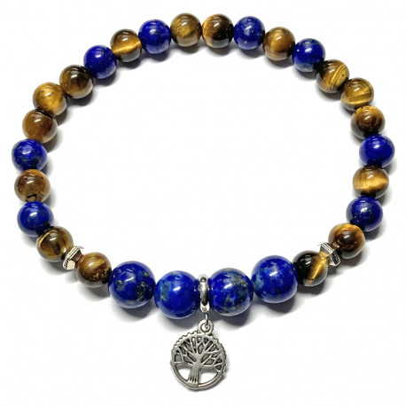 Bracelet en Oeil de Tigre & Lapis-Lazuli