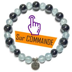 Bracelet en Aigue Marine & Hématite