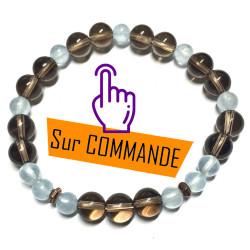 Bracelet en Aigue Marine & Quartz Fumé