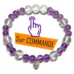 Bracelet en Cristal de Roche & Améthyste