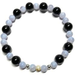 Bracelet en Calcédoine & Onyx
