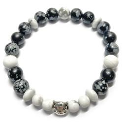Bracelet en Obsidienne Neige & Howlite