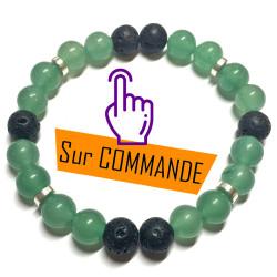Bracelet en Aventurine Verte & Basalte