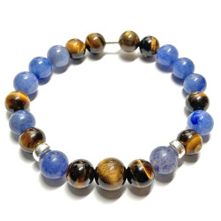 Bracelet en Oeil de Tigre & Aventurine Bleue
