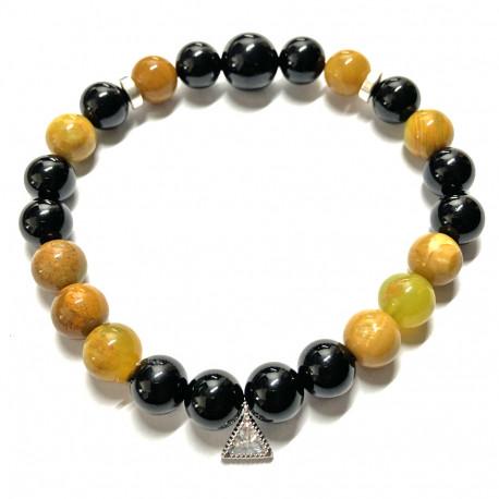 Bracelet en Jaspe Opale & Onyx