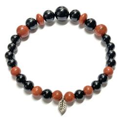 Bracelet en Jaspe Rouge & Onyx