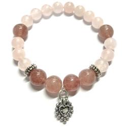 Bracelet en Quartz Rose & Quartz Hématoïde