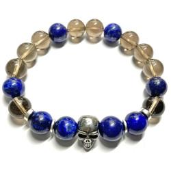 Bracelet en Quartz Fumé & Lapis-Lazuli