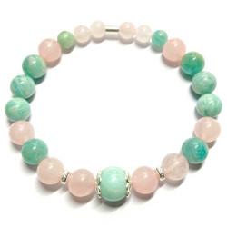 Bracelet en Quartz Rose & Amazonite