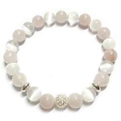 Bracelet en Quartz Rose & Sélénite