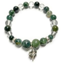 Bracelet en Agate Mousse & Cristal de Roche