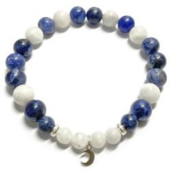 Bracelet en Sodalite & Pierre de Lune