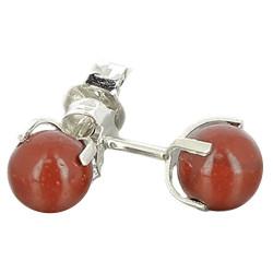 Boucles d'Oreilles en Jaspe Rouge & Argent