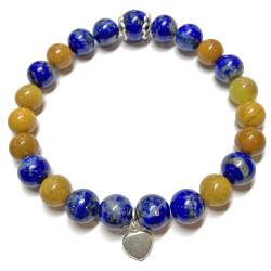 Bracelet en Jaspe Opale & Lapis Lazuli