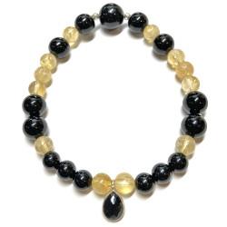 Bracelet en Citrine & Onyx